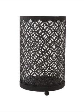 Cosy @ Home Windlicht Maroc  Metaal Zwart 10x10x16cm