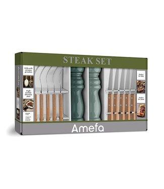 Amefa Retail Bistecca barbecue set 14 parti con pepe e macina sale
