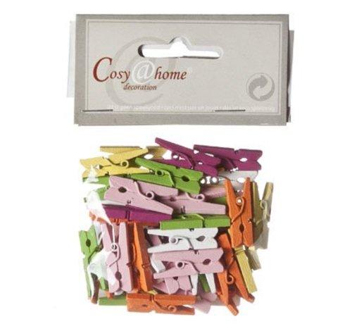 Cosy @ Home Mini Wasknijper Set48 Mix Kleur Hout 2.5cm In Polybag