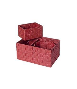 Cosy & Trendy Expert Basket Red Set4 Nylon 34.5x24.x17-20x20xh16-20x15xh11-d19xh15