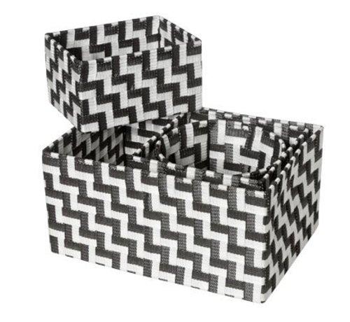 Cosy & Trendy Expert Mand Zwart-wit Set4 Nylon 34.5x245x17-20x20xh16-20x15xh11-d19xh15