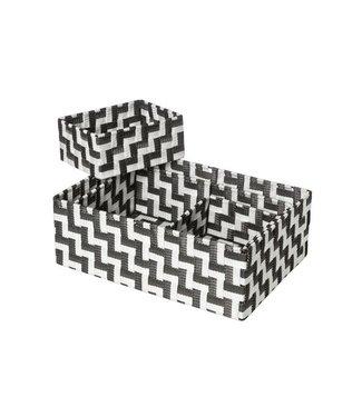 Cosy & Trendy Expert Basket Black-white Set4rect Nylon35x25xh12 - 32x21xh10-18x14xh8-18x14xh8