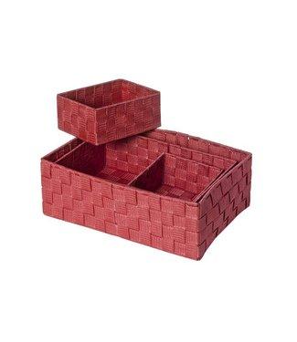 Cosy & Trendy Expert Basket Red Set4 Rect Nylon 35x25xh12- 32x21xh10 - 18x14xh8-18x14xh8 (6er Set)