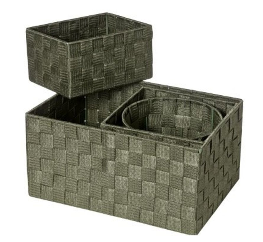 Expert Basket Kaki Set4 Nylon 34.5x24.5x17- 20x20xh16-20x15xh11-d19xh15 (6er Set)