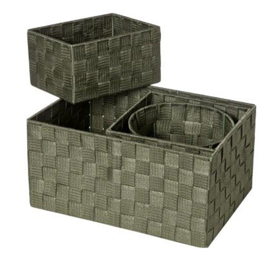 Expert Mand Kaki Set4 Nylon 34.5x245x17-20x20xh16-20x15xh11-d19xh15 (set van 6)