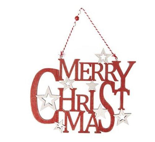 Cosy @ Home Hanger Merry Christmas Hout Rood 29x1x35cm (set van 12)