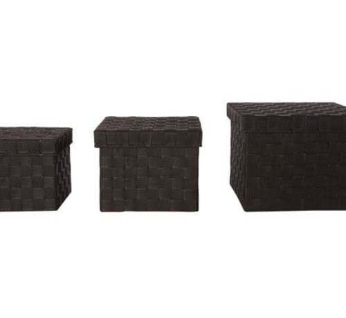 Cosy & Trendy Expert Mand Donkerbruin S3 Deksel Nylon28x28xh22cm -24x24xh19cm- 20x20xh17cm (set van 8)