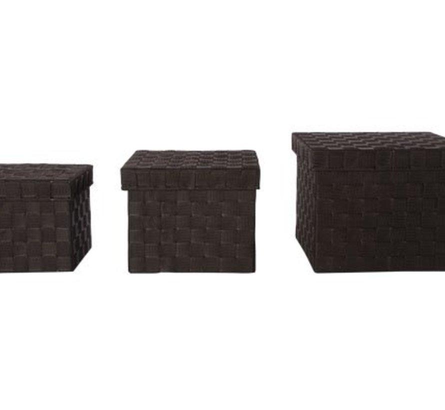 Expert Mand Donkerbruin S3 Deksel Nylon28x28xh22cm -24x24xh19cm- 20x20xh17cm (set van 8)