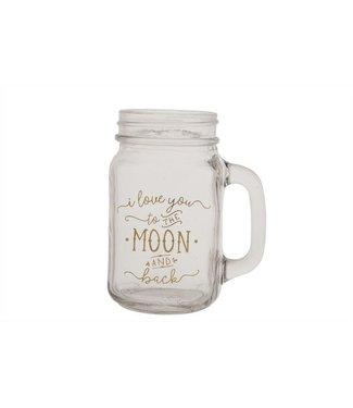 Cosy @ Home Theelichtglas Beker Klaar 12x7xh13cmlove You To The Moon And Back