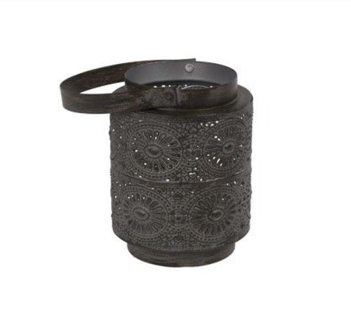 Cosy @ Home Rabat Theelichth 10x10x12.5cm Blackbrushmetaal (set van 4)