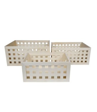 Cosy & Trendy Storage Box Set3 Ply Wood With Squares