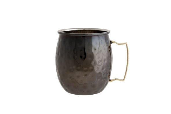 CT Moscow Mug 10x8cm Zwart Gehamerd set van 4