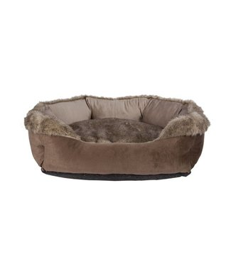 Cosy & Trendy Oblong Bolster Bed Brown 70x60x25cmremovable Zipped Pillow