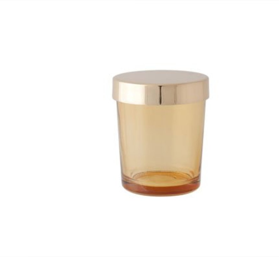 T-lichth Glas Oranje Deksel Goud 6x6x7cm (set van 6)