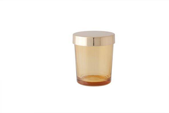 Cosy @ Home T-lichth Glas Oranje Deksel Goud 6x6x7cm (set van 6)
