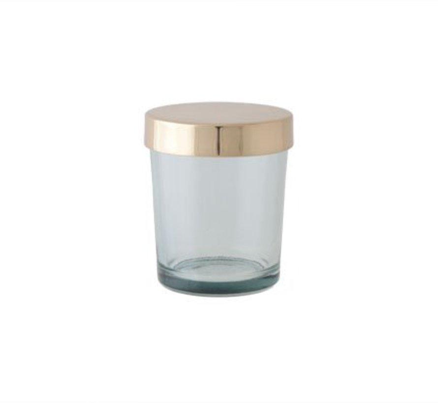 T-lichth Glas Groen Deksel Goud 6x6x7cm (set van 6)