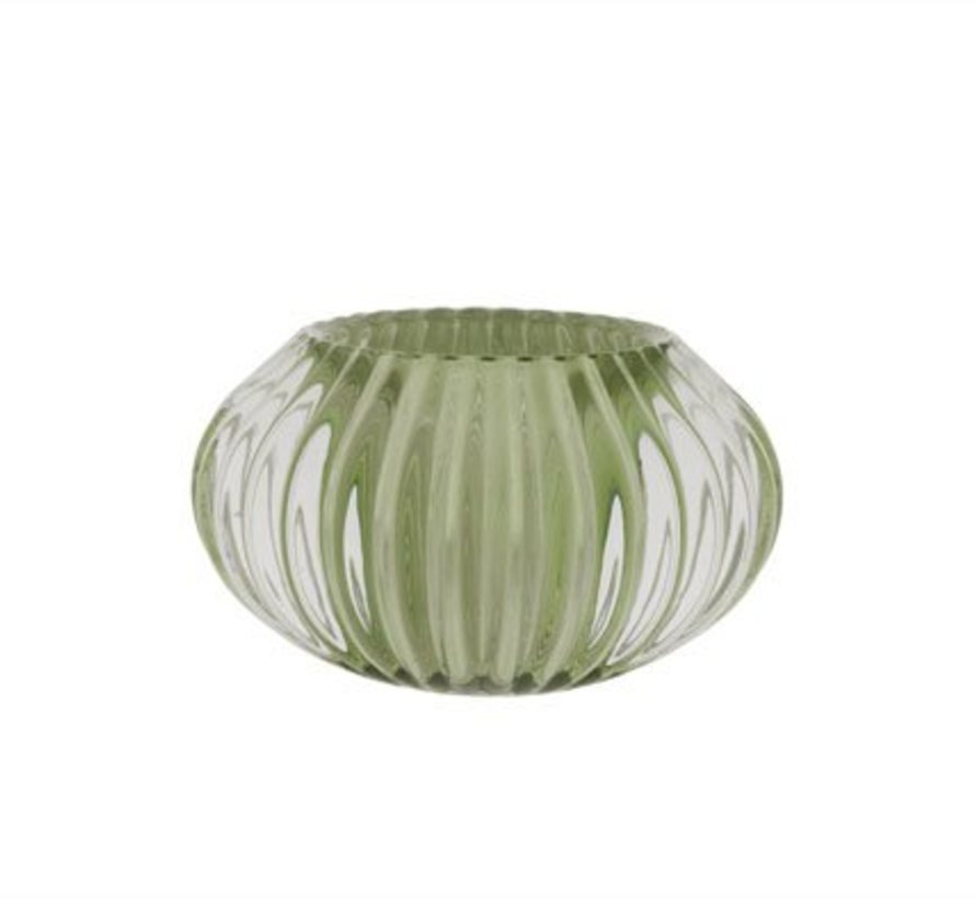 Theelichth.porto Groen Glas D11xh6,5cm