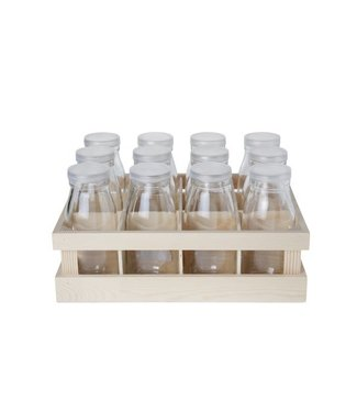 Cosy & Trendy Box In Wood W. 12 Milk Bottles S12 D6x14