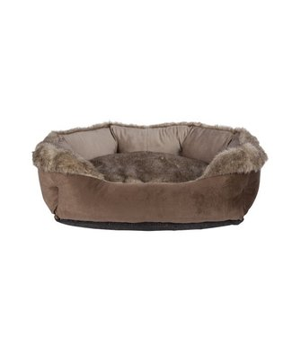 Cosy & Trendy Oblong Bolster Bed Brown 60x50x22cmremovable Zipped Pillow