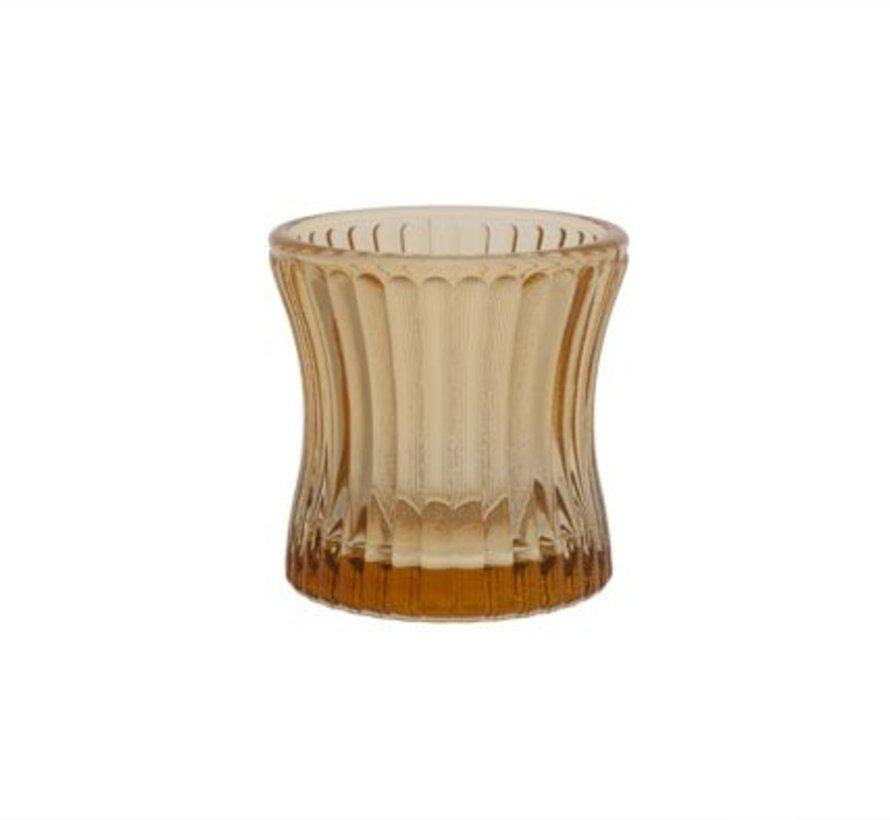 Teelichthalt. Madrid Amber 6,6x6,6x6glas