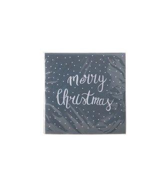 Cosy & Trendy Ct Serviet S20 33x33cm Grijs-merry Christmas Wit- Papier 3laags