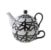 Cosy & Trendy Teapot With Cup D11.5xh14 Black-whiteteapot 35cl - Tasse 30cl