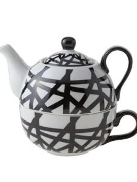 Cosy & Trendy Teapot With Cup D11.5xh14 Black-whiteteapot 35cl - Tasse 30cl