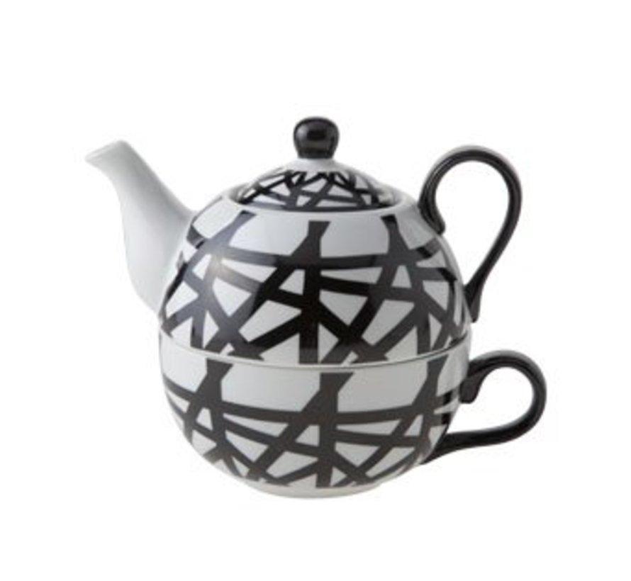 Teapot With Cup D11.5xh14 Black-whiteteapot 35cl - Tasse 30cl