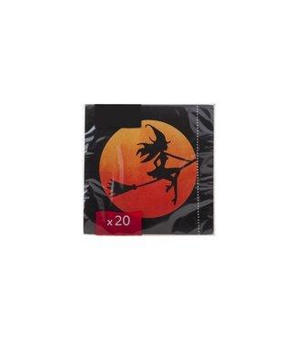 Cosy & Trendy Ct Napkin S20 33x33cm Black-witch-broomorange Sun-paper 3-ply