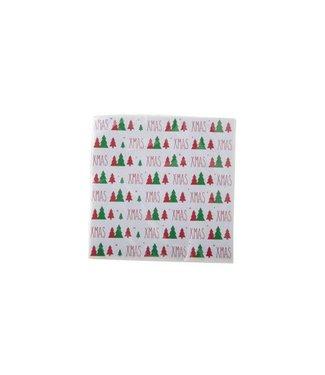 Cosy & Trendy Ct Serviet S20 33x33cm Wit-xmas-kerstboom-rood-groen Paper 3laags