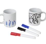 Cosy & Trendy Beker Wit D8xh10cm Set 2 Met 3 Markeer-stiften Blauw - Rood - Zwart