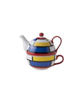 Cosy & Trendy Teapot With Cup D11.5xh14 Mondriaanteapot 35cl - Tasse 30cl