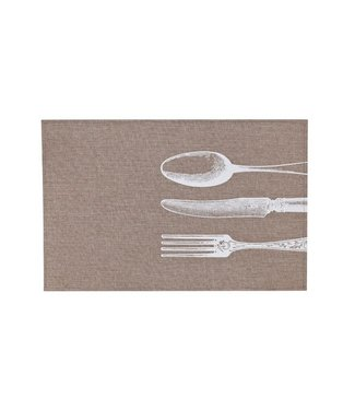 Cosy & Trendy Placemat Poly-linen Brown-printed Whitecutlery  45x30cm (set of 12)