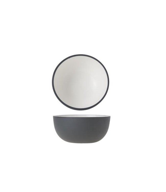 Cosy & Trendy Alu Bowl 9xh4.5cm Wit Email Graphite Gr (set van 2)