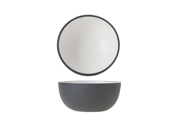 Cosy & Trendy Alu Bowl 9xh4.5cm Wit Email Graphite Gr
