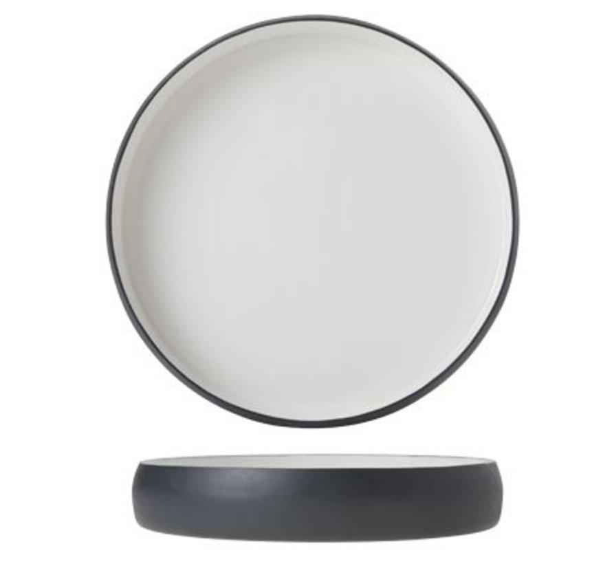 Plate Alu 25cm White Enamel Grey Grahit