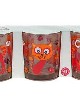 Cerve Linda Funny Cat Glass 22 Cl Set 3