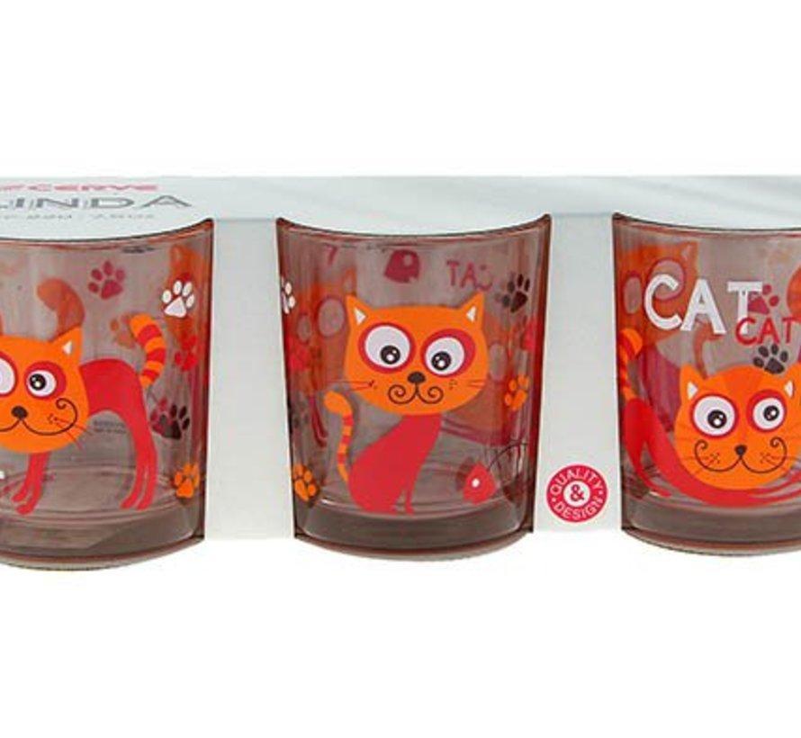 Linda Funny Cat Glas 22 Cl Set 3 (set van 12)