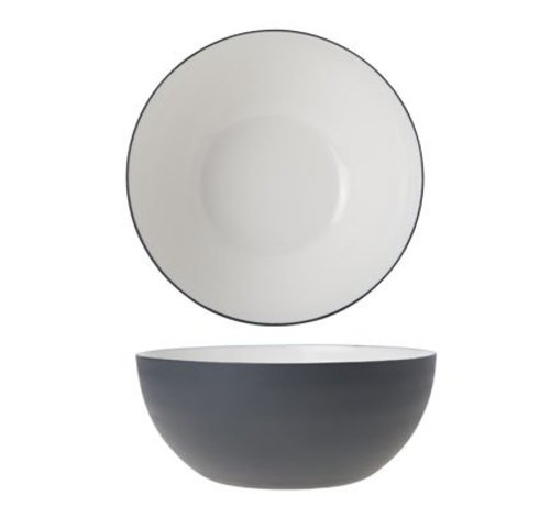 Cosy & Trendy Alu Bowl 16.5xh7cm Wit Email Graphite Gr