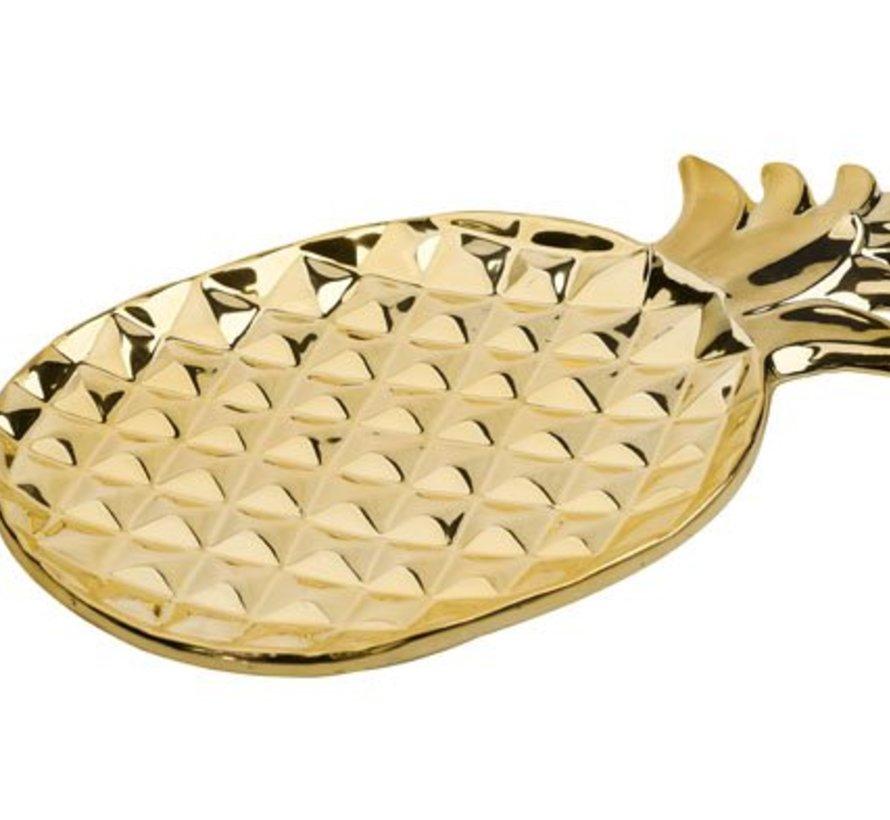 Pineapple Gold Deco-schaal 35x20.5cm