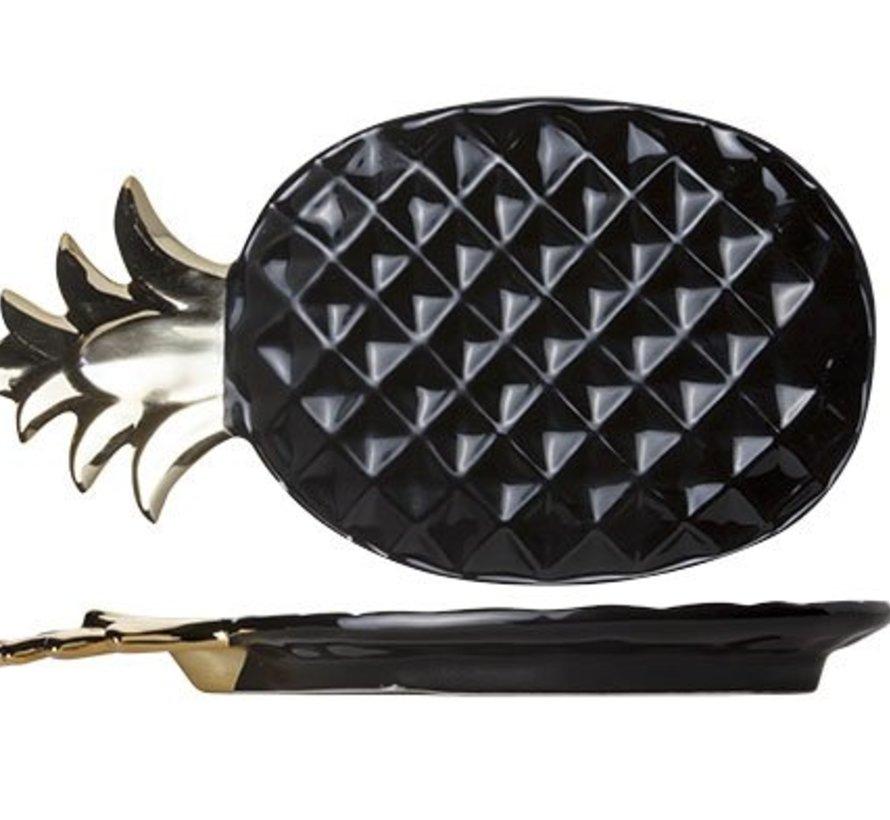 Pineapple Black Deco-plate 22.5x12.5cm