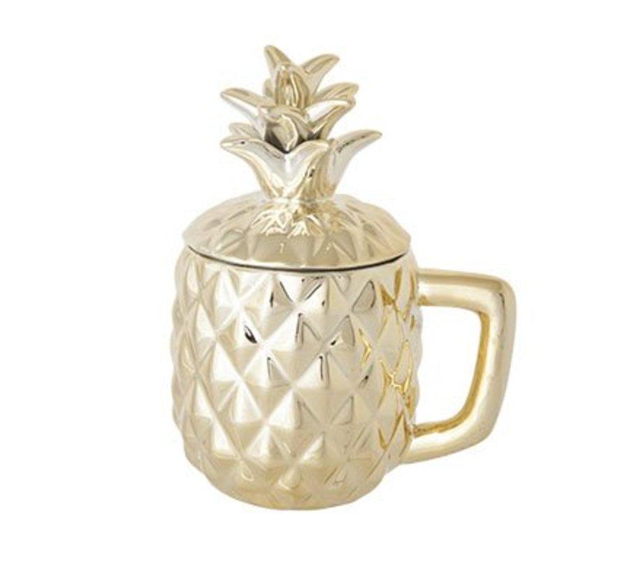 Pineapple Gold Deco Beker D9xh10-17.5cm
