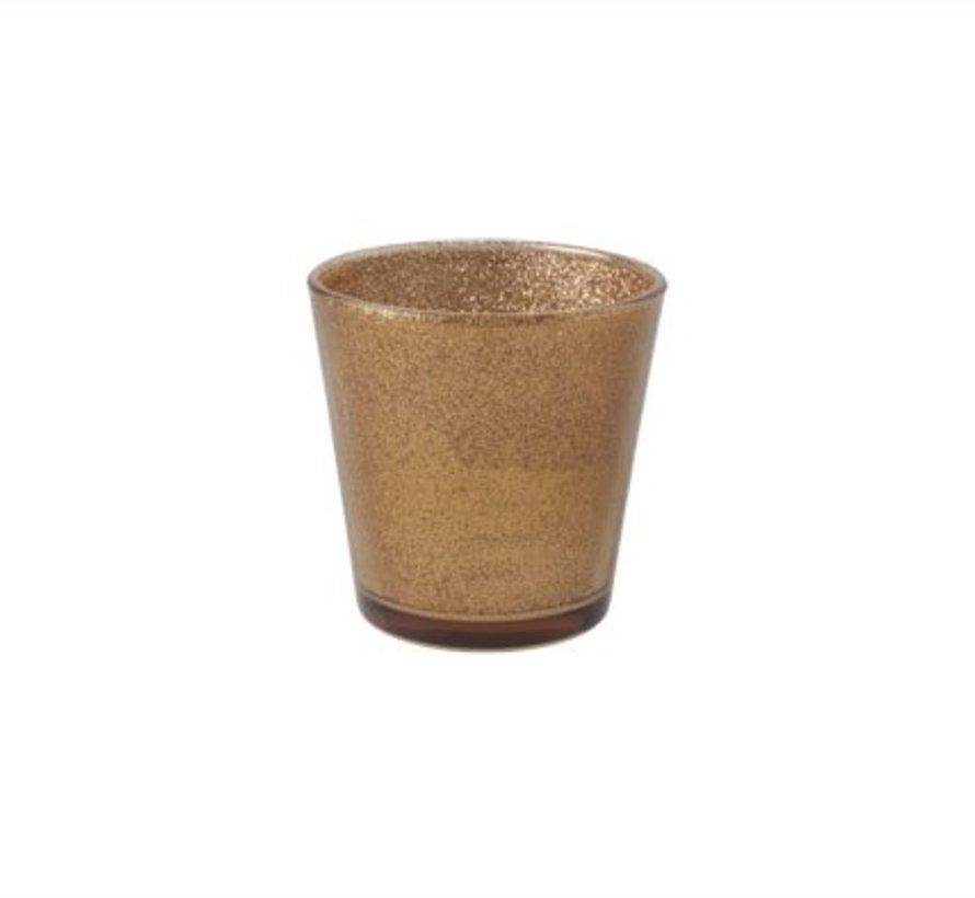 Teelichth Oslo Copper Glas 7,5x7,5xh7,5c
