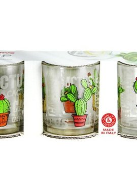 Cerve Glass Cactus Tumbler  25 Cl Set 3