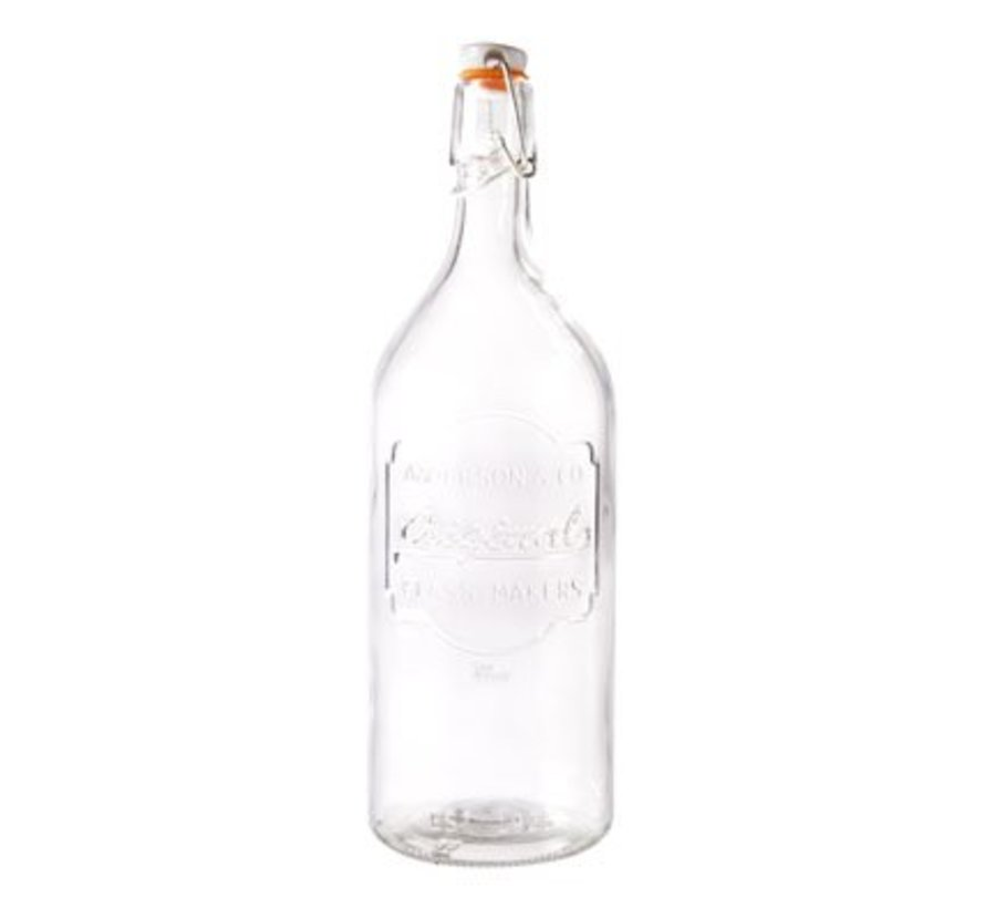 Fles Glas Met Afsluitklem D9xh27.5cm