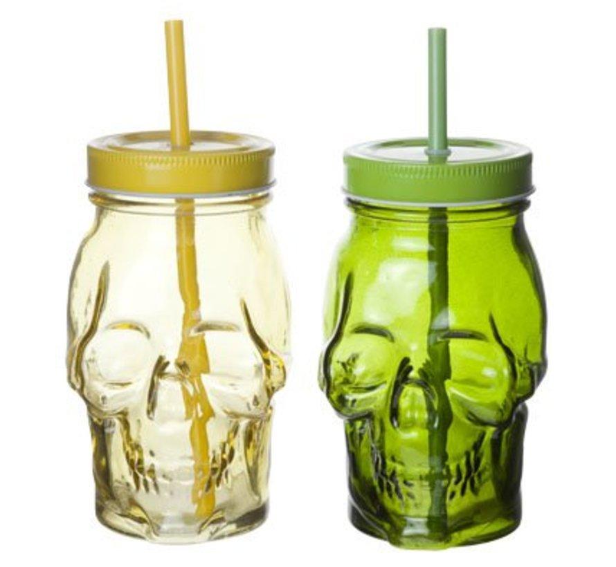 Skull Bokaal D7xh15cm 2 Ass Green-yellowzonder Oor  - Met Rietje