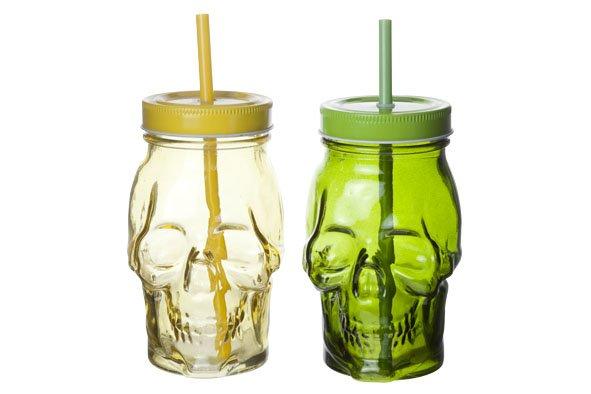 Cosy & Trendy Skull Bokaal D7xh15cm 2 Ass Green-yellowzonder Oor  - Met Rietje