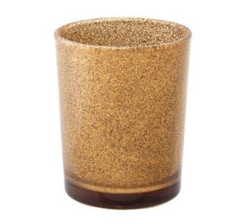 Cosy @ Home Theelichtglas Glitter Goudbruin 5.5x6.5c (set van 6)