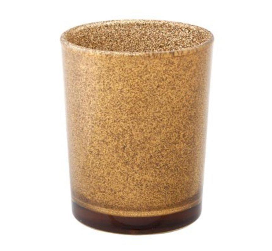 Theelichtglas Glitter Goudbruin 5.5x6.5c (set van 6)
