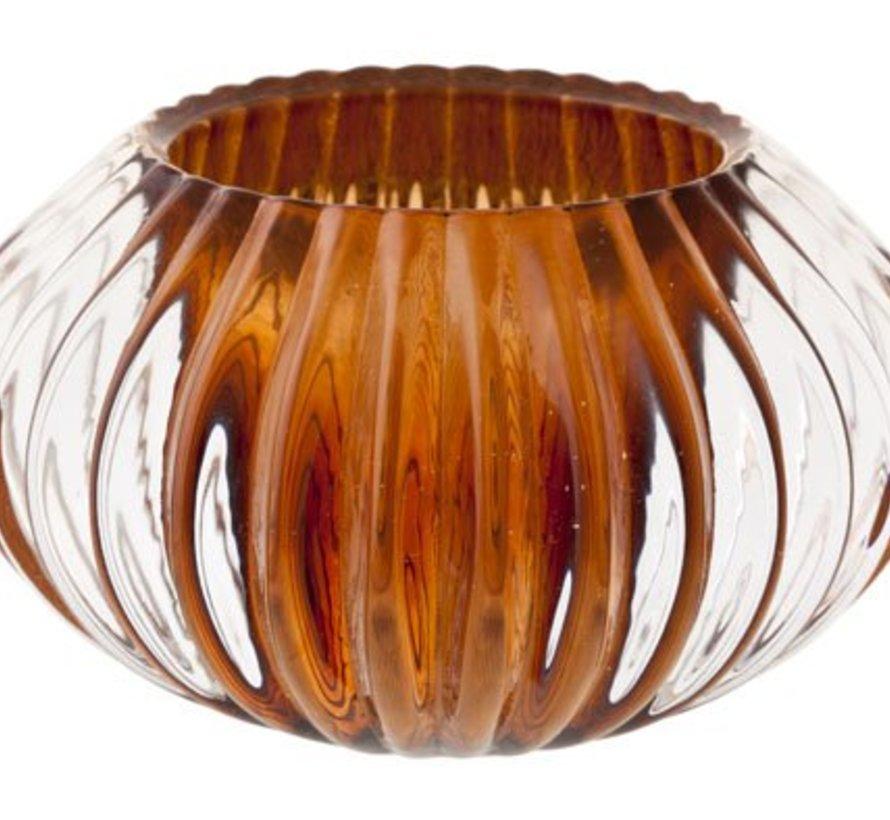 Teelichtglas Rome Braun D11xh6,5cm (6er Set)